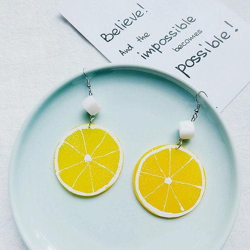 Large Lemon Earring - Yellow