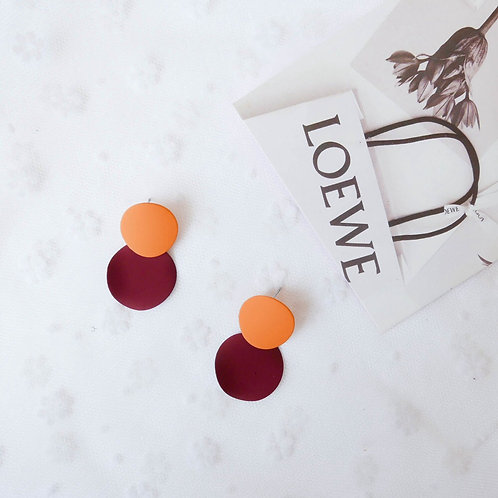 Macaron Contrast Color Disc Earring - Orange & Red