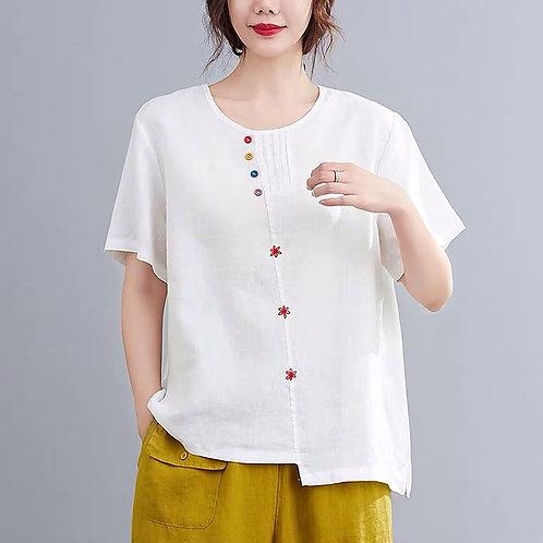 LE CHIC Floral Cotton Top -White