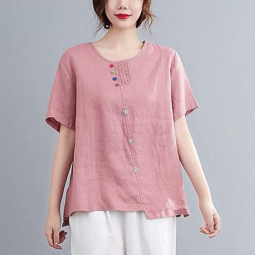 LE CHIC Floral Cotton Top -Pink