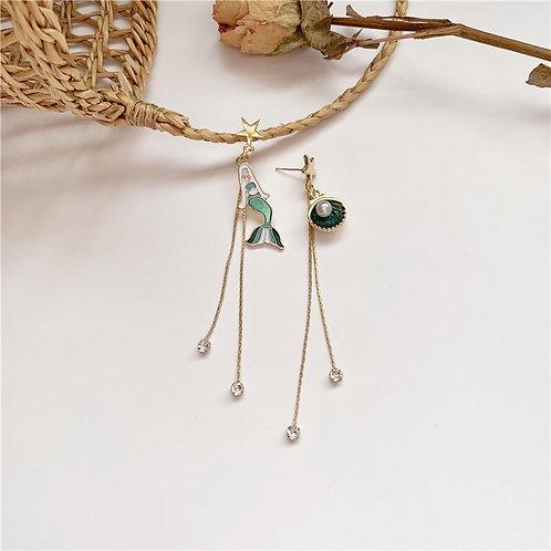 Mermaid Tassel Asymmetric Earring