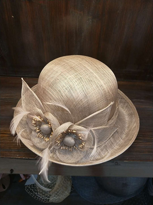 Floral Cambric Hat- Beige