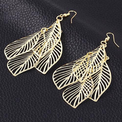 Golden Hollow Leaf Earring