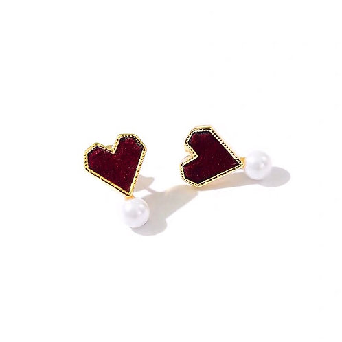 Pearl Love Stud Earring-Red