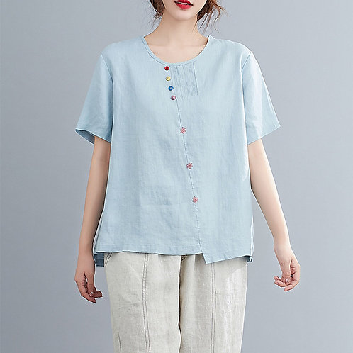 LE CHIC Floral Cotton Top - Blue