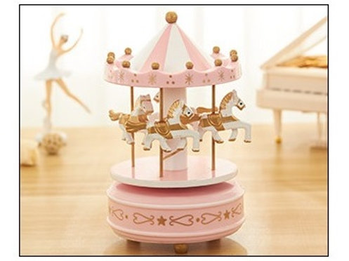 Carousel Musical Box - Pink Flower