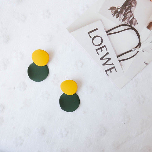 Macaron Contrast Color Disc Earring - Yellow&Green