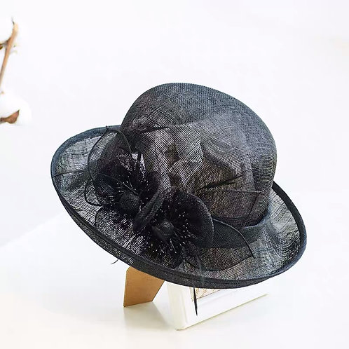 Floral Cambric Hat-Black