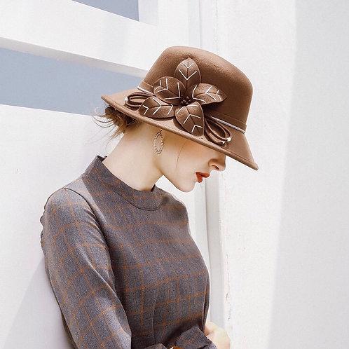 Floral Wool Hat-Brown