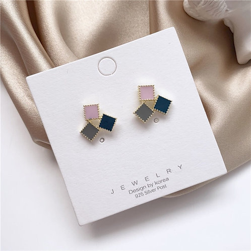Geometric Contrast Color Stitching Stud Earring