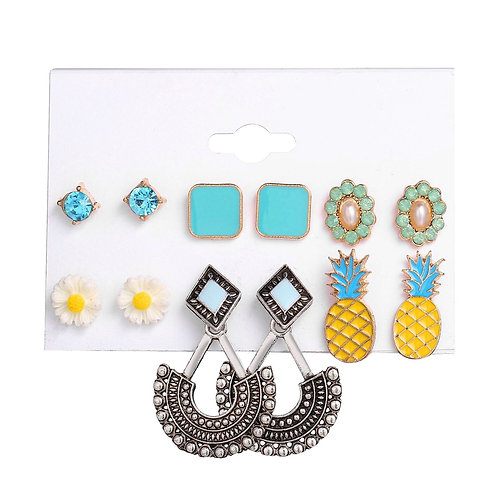 Crystal Alloy Flower Pineapple Mixed Stud Drop 6 Pack
