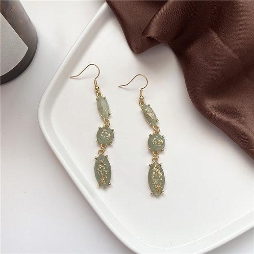 Gold Greenstone Long Drop Earring