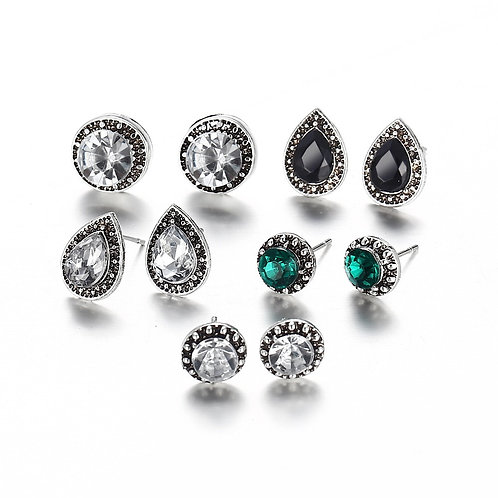 Silver Crystal Mixed Stud 5 Pack