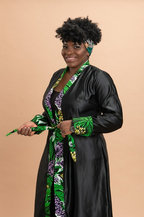 African print satin bathrobe with ankara reversible bonnet