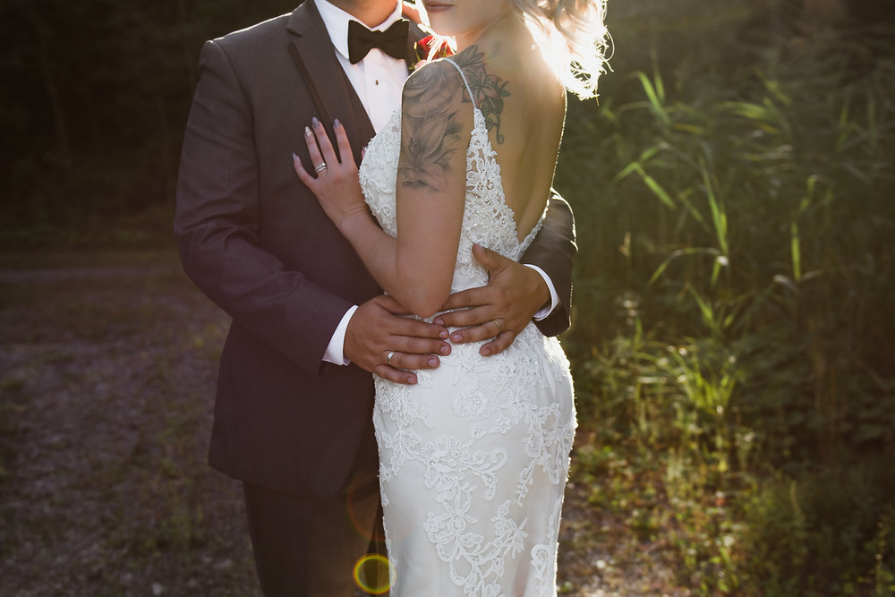Bride, Groom, Detail, Hands, Waist, Tattoo, Sun-flare, LW Imaging