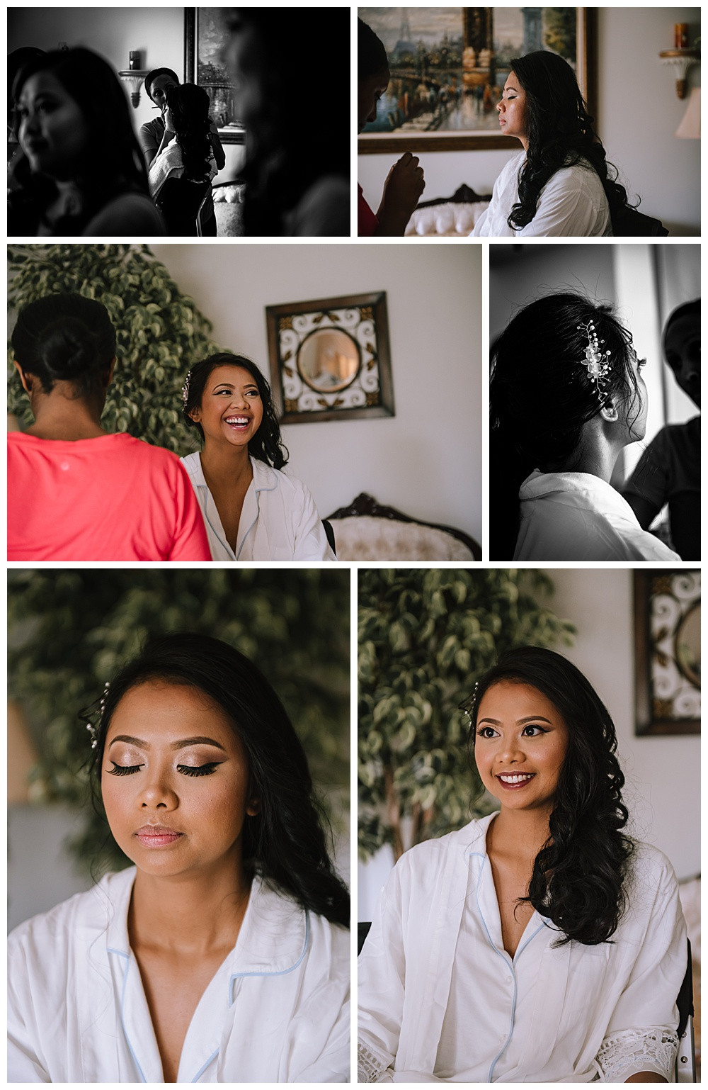Bride Getting Ready, Makeup, Laughing, Happy, Details