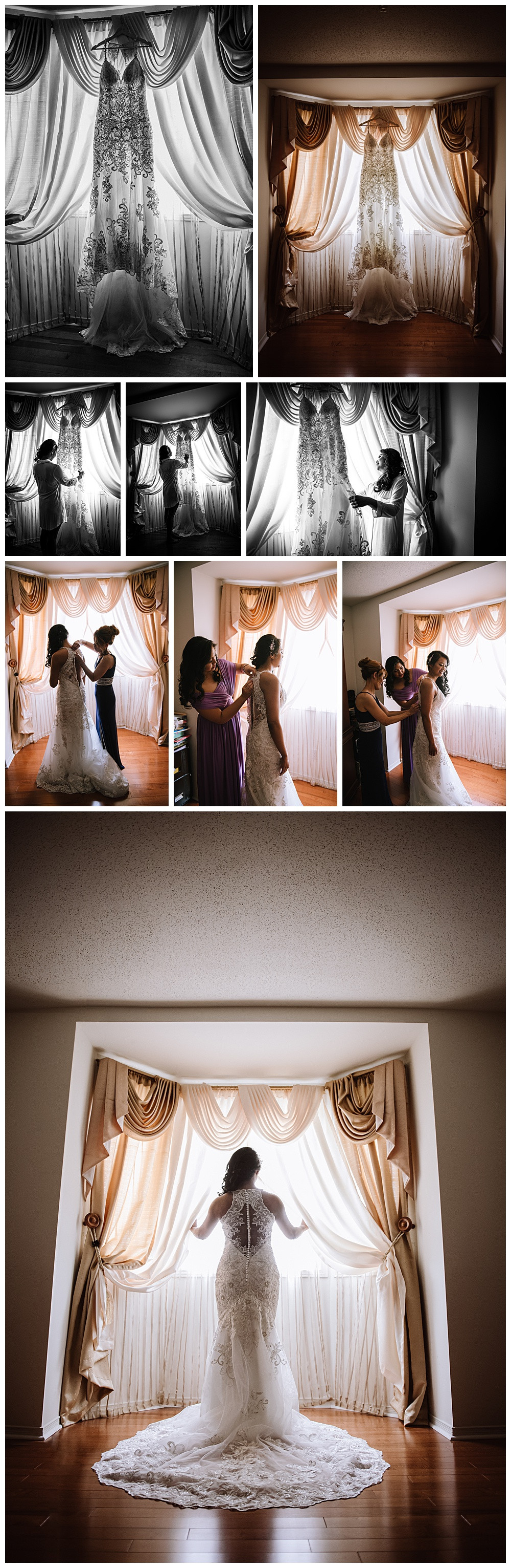 Wedding Dress, Bride with Dress, Maid of Honour, Mother of Bride, Bride in Window