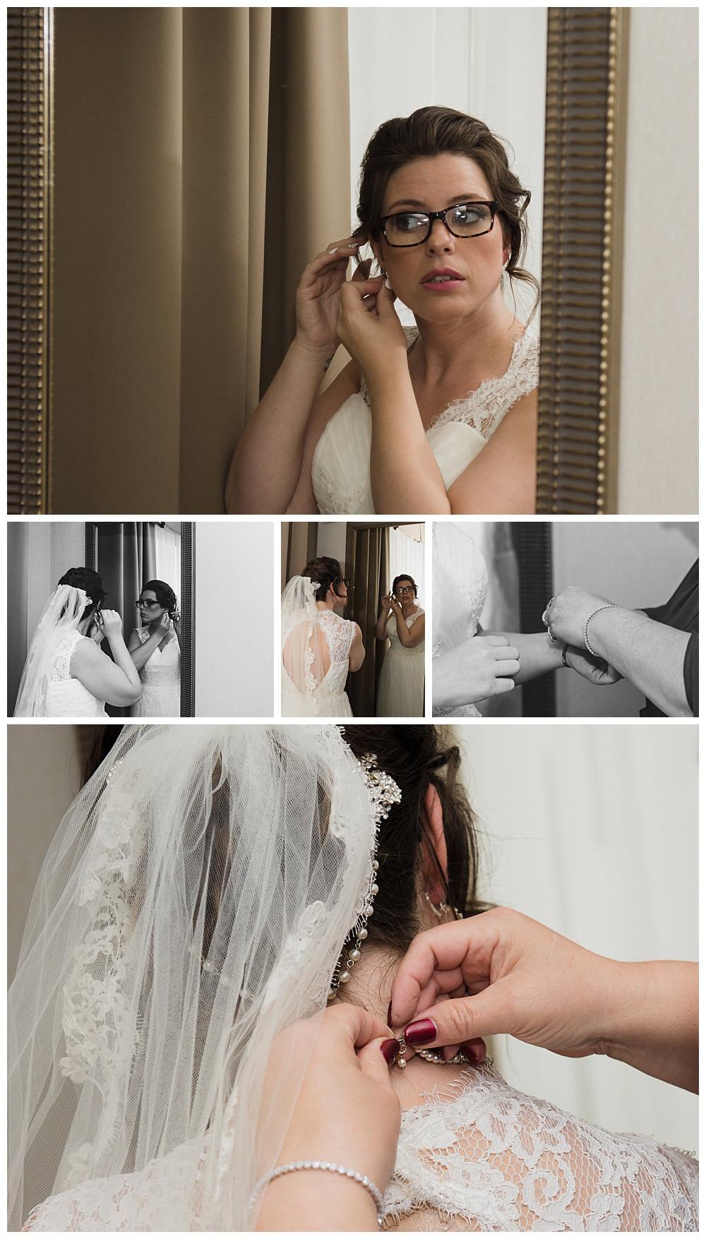Bride putting on accessories, Holiday Inn and Suites Kanata, Ottawa Wedding Photographer, Ottawa Boudoir Photographer