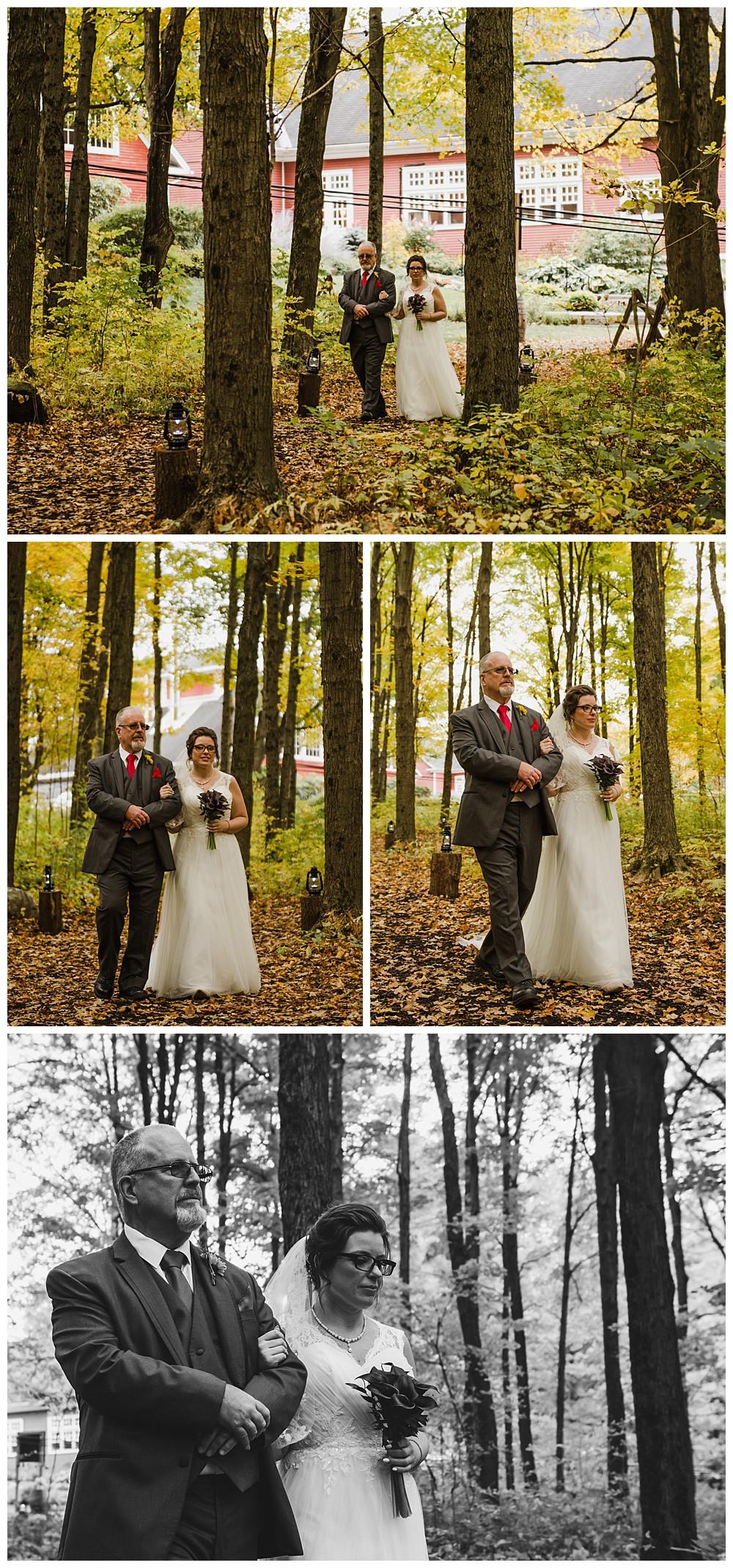 Bride Walking Down Aisle, Temples Sugar Bush, Ottawa Wedding Photographer, Ottawa Boudoir Photographer