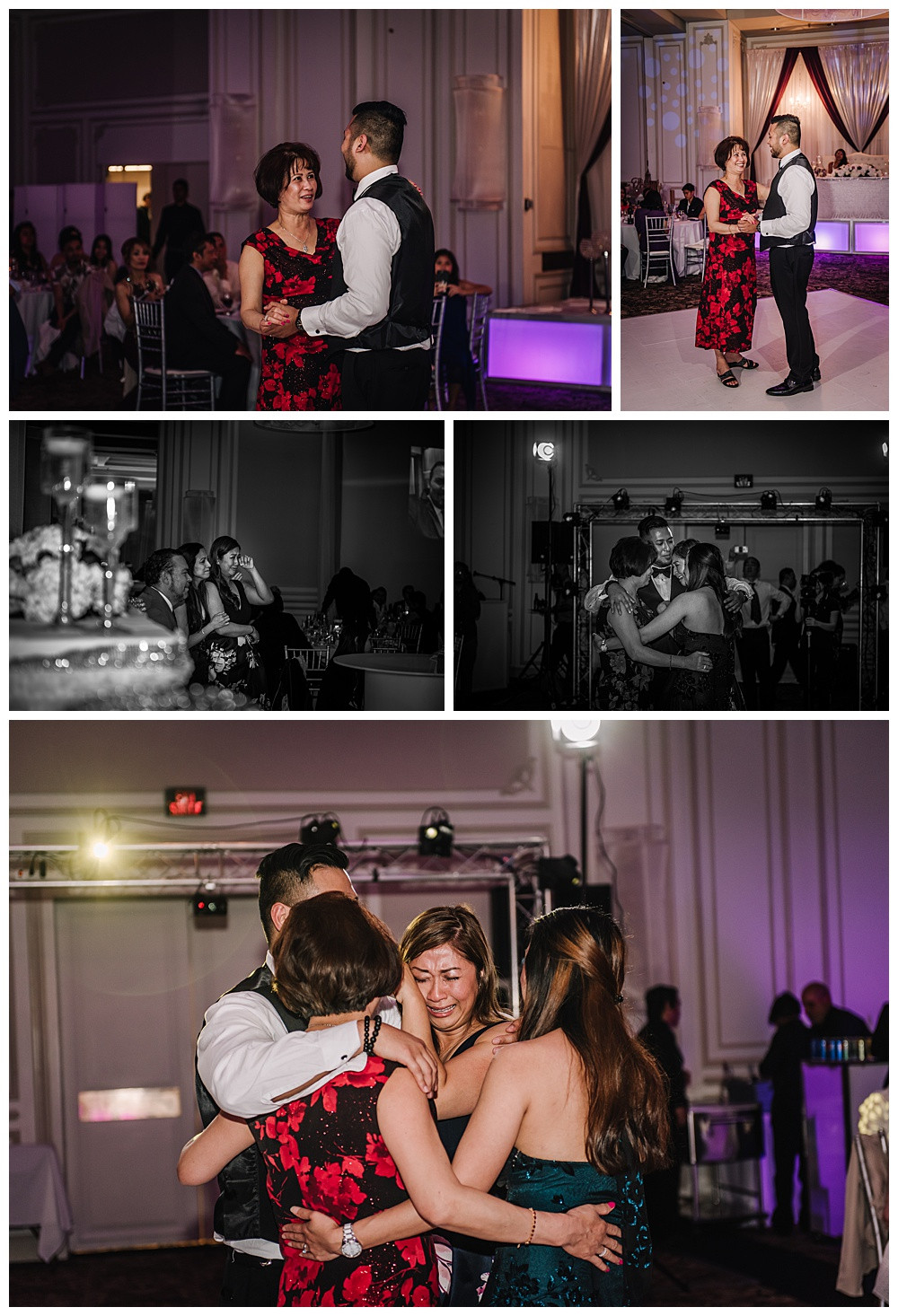Mother Son Dance, Groom with Mom, Groom with Sisters, Older sister crying