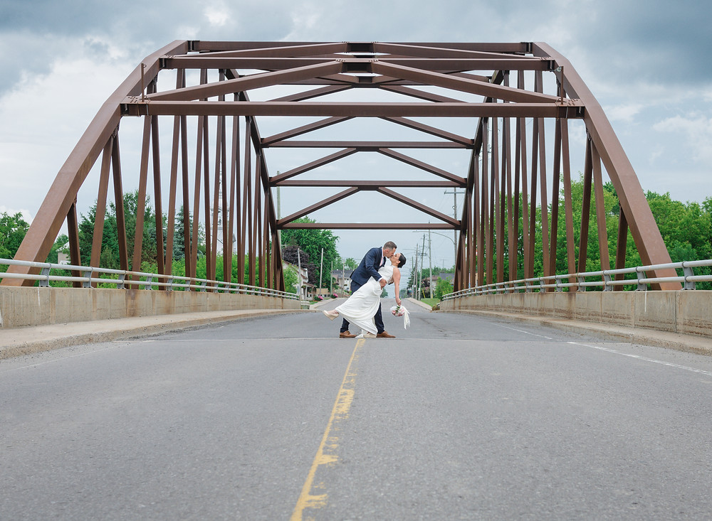 Bride, Groom, Bridge, Dip, Kiss, Stopping Traffic, LW Imaging