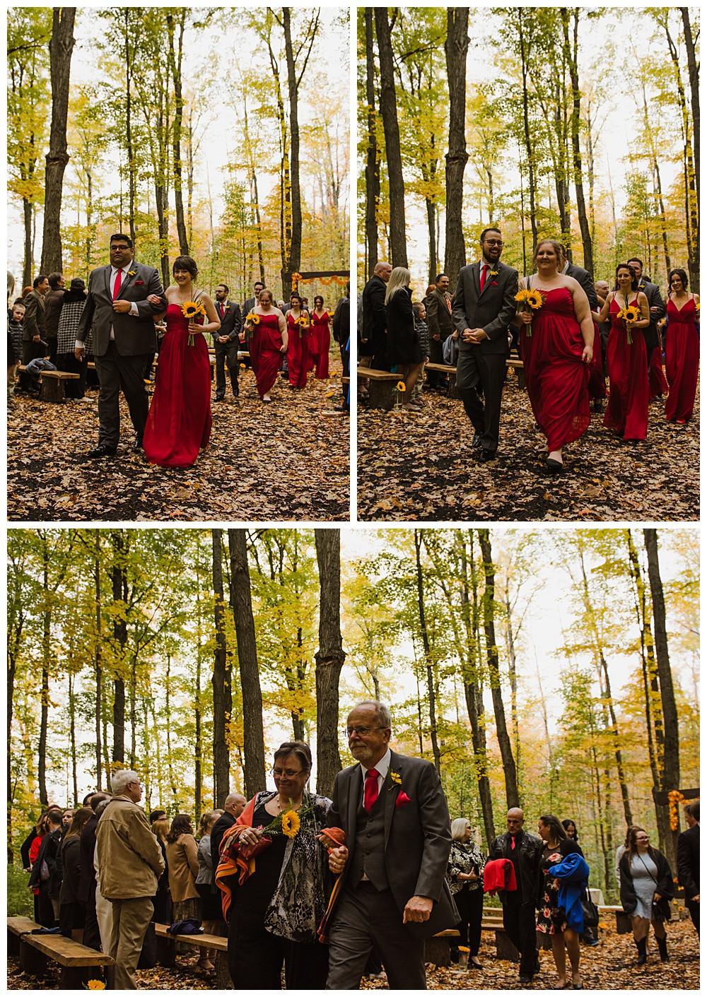 Bridal Party Walking Back Down Aisle, Temples Sugar Bush, Ottawa Wedding Photographer, Ottawa Boudoir Photographer