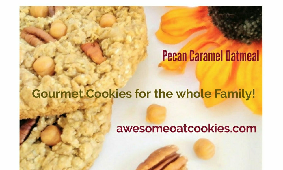 3 Large Caramel Pecan Oatmeal Single Gift Boxes, Awesome Oat Gourmet Cookies