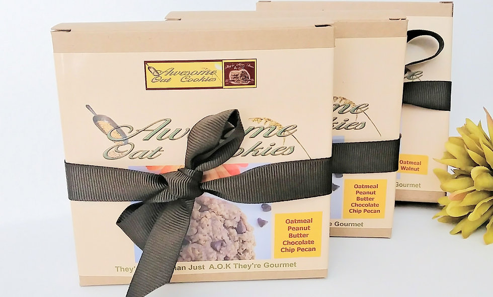 Awesome Oat Cookies | 12 Single Gourmet Cookie Gift Boxes | Large Size