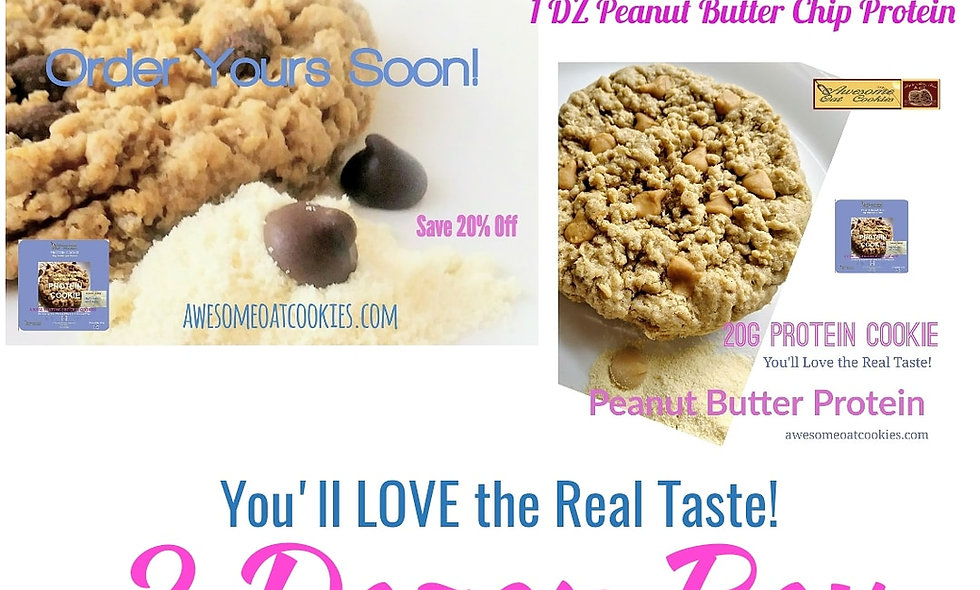 2DZ Box,  24 LG Size Whey Protein Awesome Oat Cookies, 2 Flavors, Real Taste