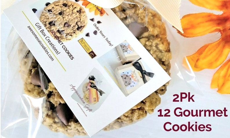 12 Large Size Gourmet Cookies, 2Pks Awesome Oat Cookies, Assortment Flavors