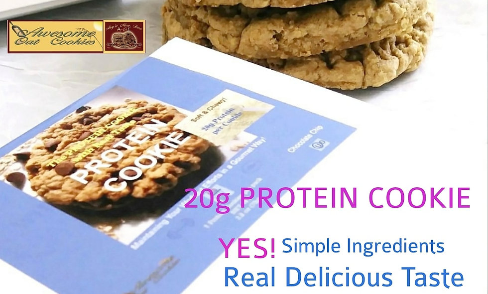 High 20g Protein Chocolate or Peanut Butter Chip Protein Cookies, LG Size 3 Pack