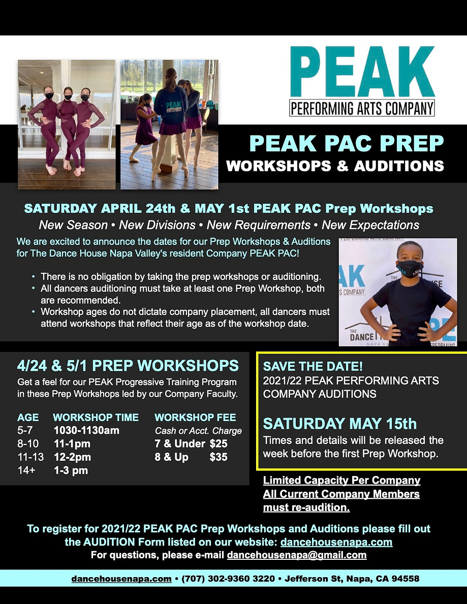 PEAK Prep Workshop & Audition 2021 Flyer