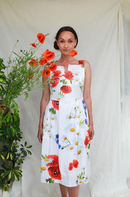 'Poppy' Dress, Digitale veldbloemen Print.