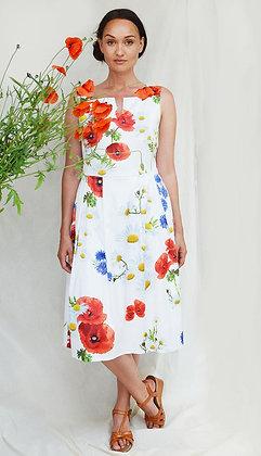 'Poppy' Dress, met digitale veldbloemen Print
