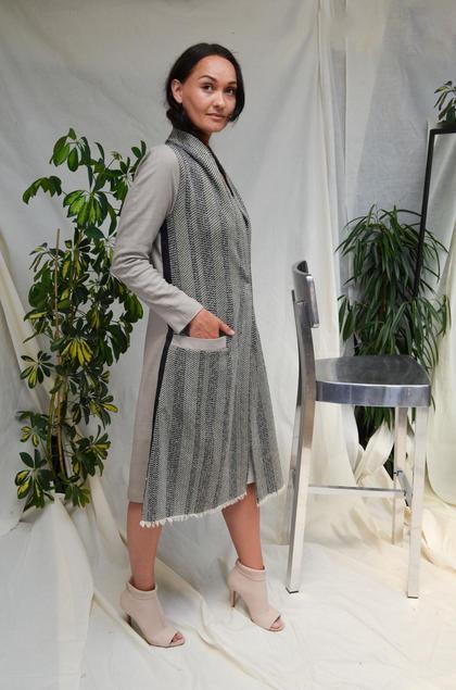 'Stripe' Raffia Jacquard lange jas