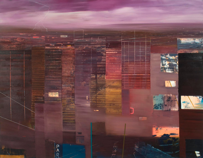 "JOSEPH SIDDIQI ""Electric"" oil on linen 70 x 90 in. / 178 x 229 cm"