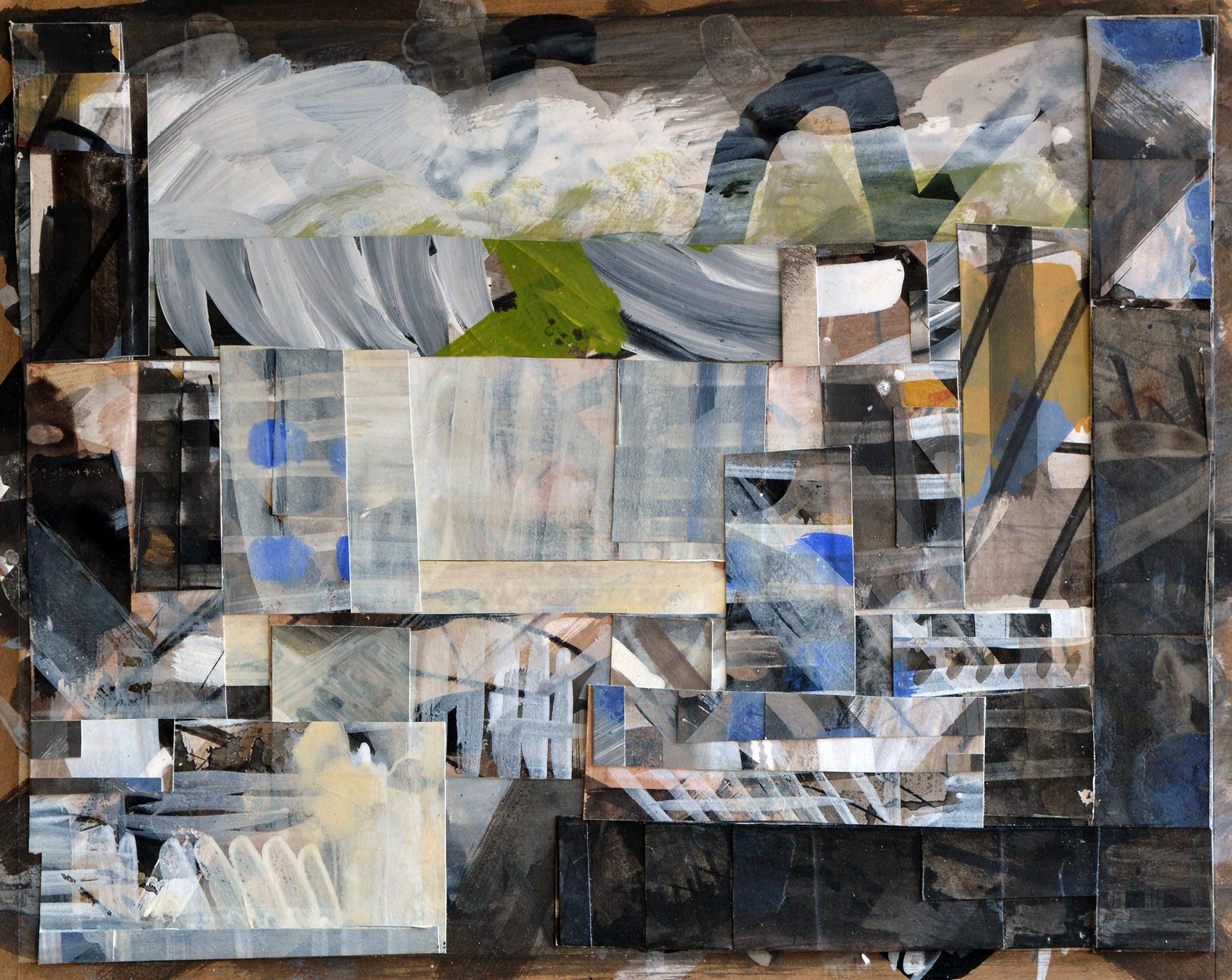 "JOSEPH SIDDIQI ""Transition 2""  mixed media collage 16 x 20 in. / 41 x 51 cm"