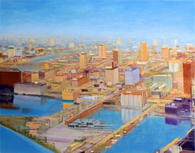 "JOSEPH SIDDIQI ""Water City"" 2013 oil on linen 33 x 42 in. / 84 x 107 cm"