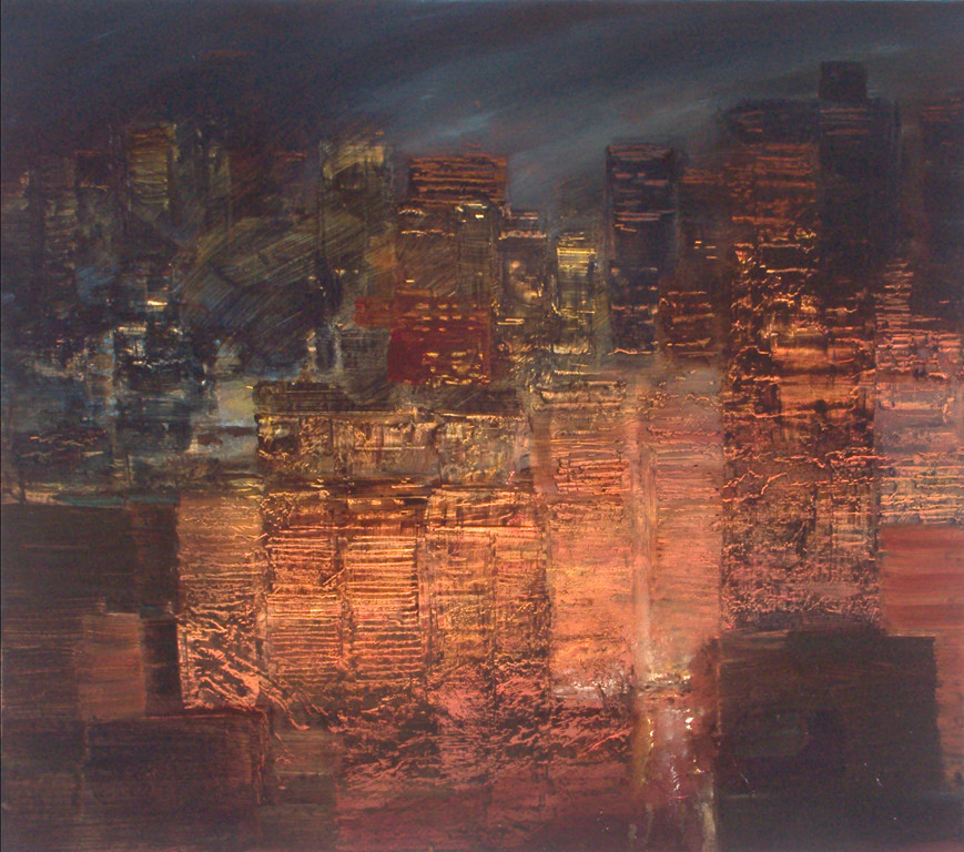 "JOSEPH SIDDIQI ""City Lights 3"" oil on canvas 22 x 25 in. / 56 x 64 cm"
