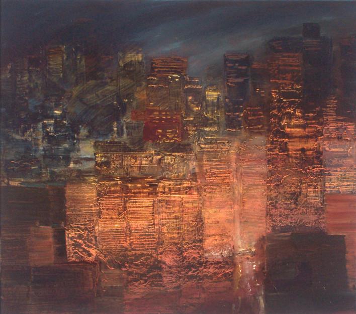 "JOSEPH SIDDIQI ""City Lights 3"" oil on canvas 22 x 25 in. / 56 x 64 cm"