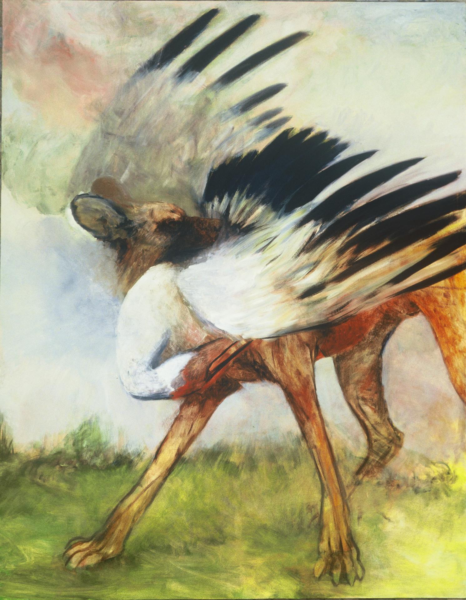 "JOSEPH SIDDIQI ""Dog with Prey"" oil on canvas 90 x 70 in. / 229 x 178 cm"