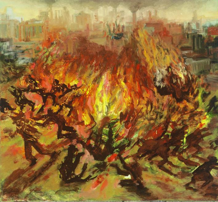 "JOSEPH SIDDIQI ""Burning City"" oil on canvas 22 x 25 in. / 56 x 64 cm"