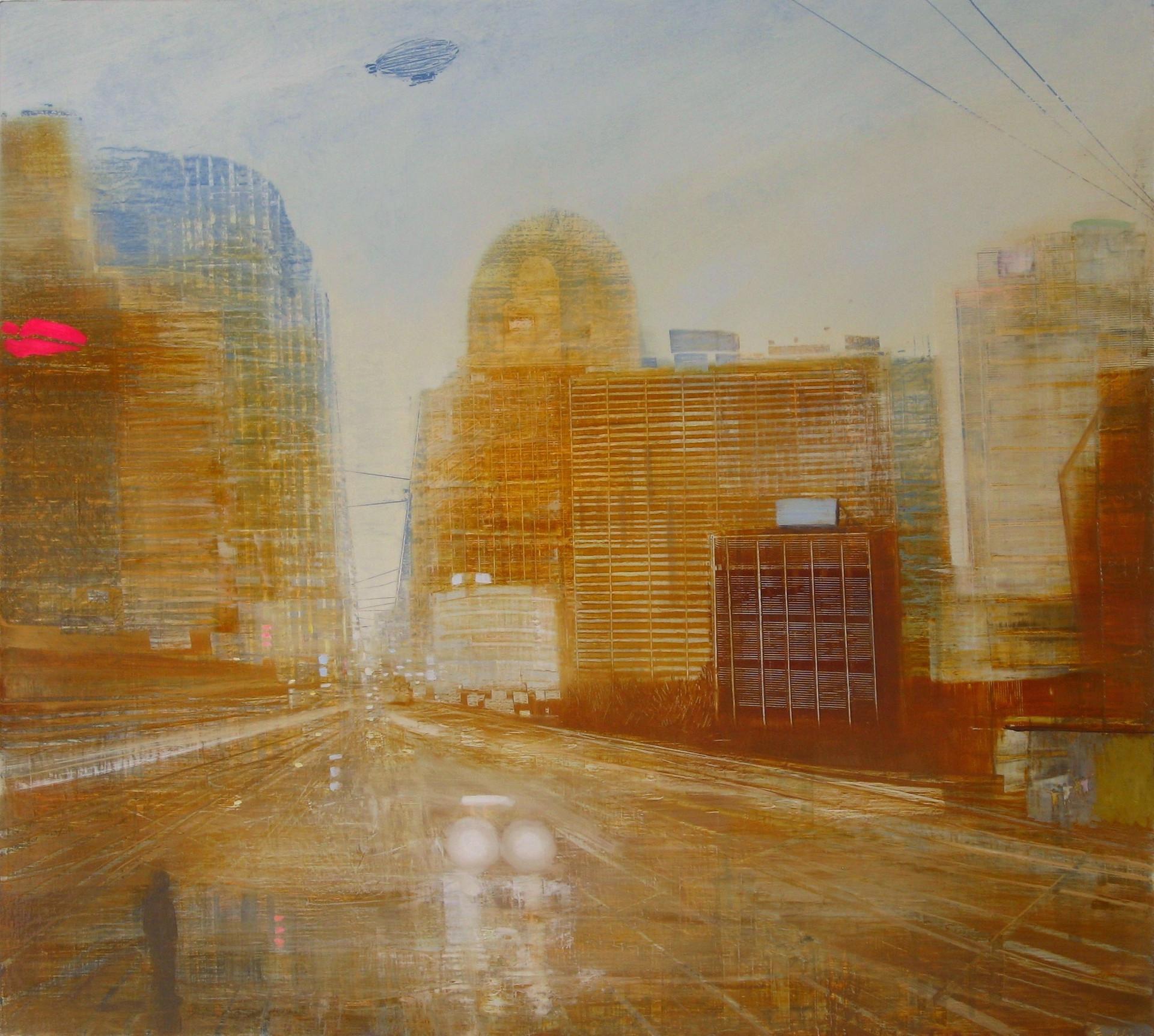 """JOSEPH SIDDIQI """"Inner City"""" oil on linen 36 x 40 in. / 91 x 102 cm"""