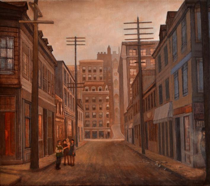"JOSEPH SIDDIQI ""St-Urbain Street (1915)"" oil on linen 22 x 25 in. / 56 x 64 cm"