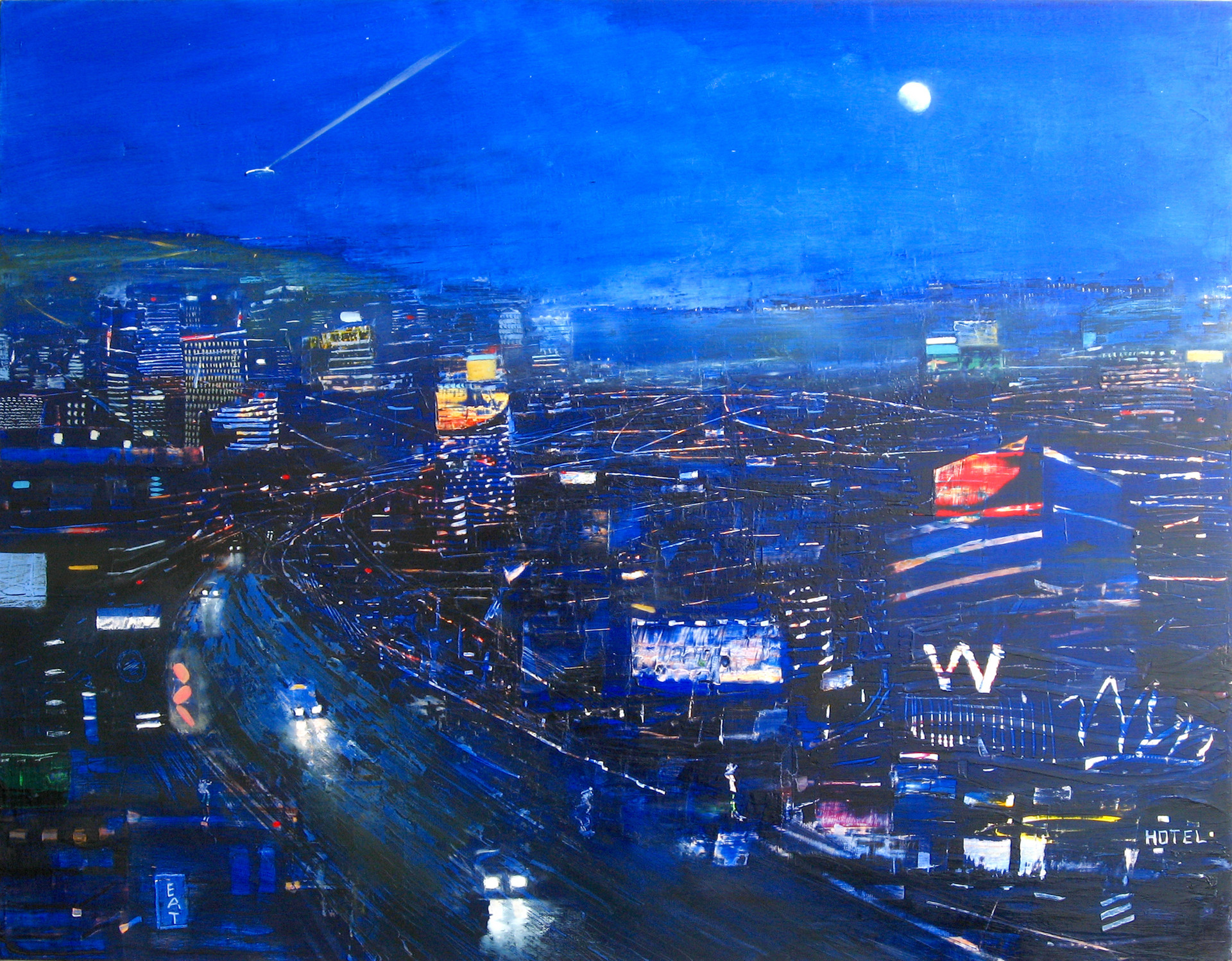 "JOSEPH SIDDIQI ""Night City 3"" oil on canvas 42 x 54 in. / 107 x 137 cm"