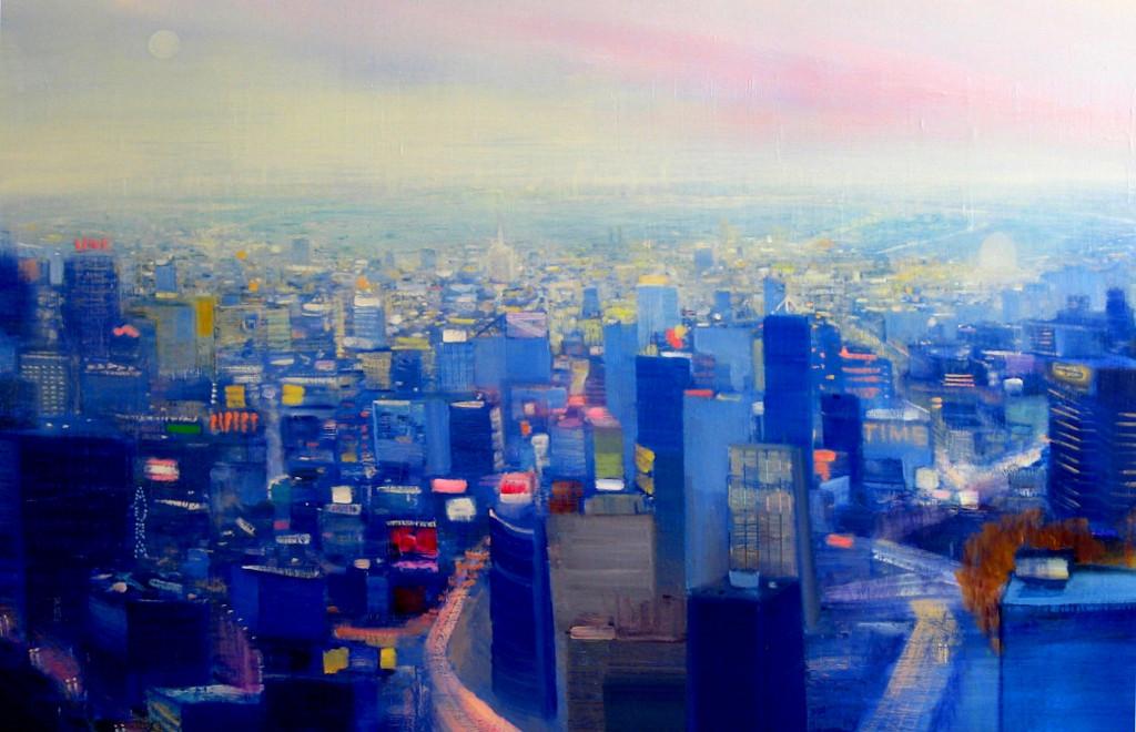 "JOSEPH SIDDIQI ""Blue City"" oil on linen 33 x 50 in. / 84 x 127 cm"