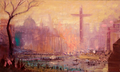 "JOSEPH SIDDIQI ""Crossing I: The Harbour"" 2012 oil on linen 9 x 15 in. / 23 x 38 cm"