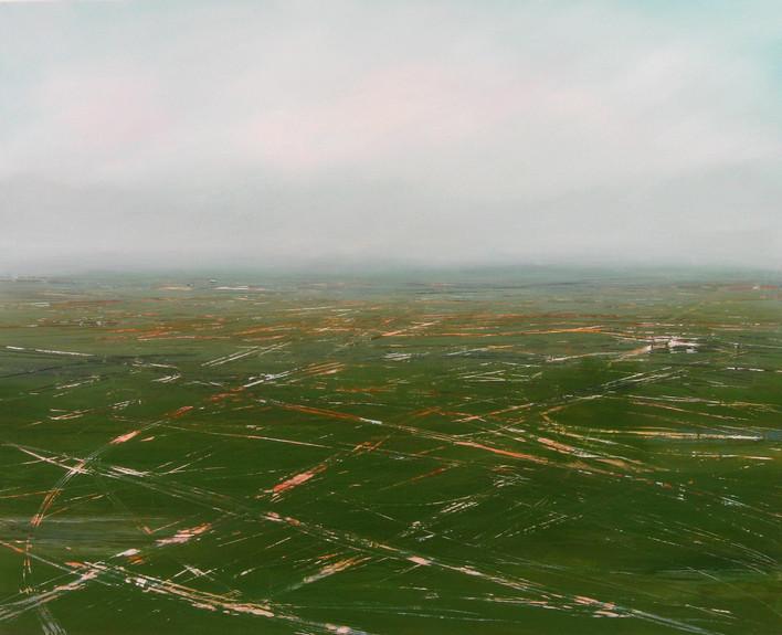 "JOSEPH SIDDIQI ""Air Field"" oil on canvas 48 x 60 in. / 122 x 152 cm"