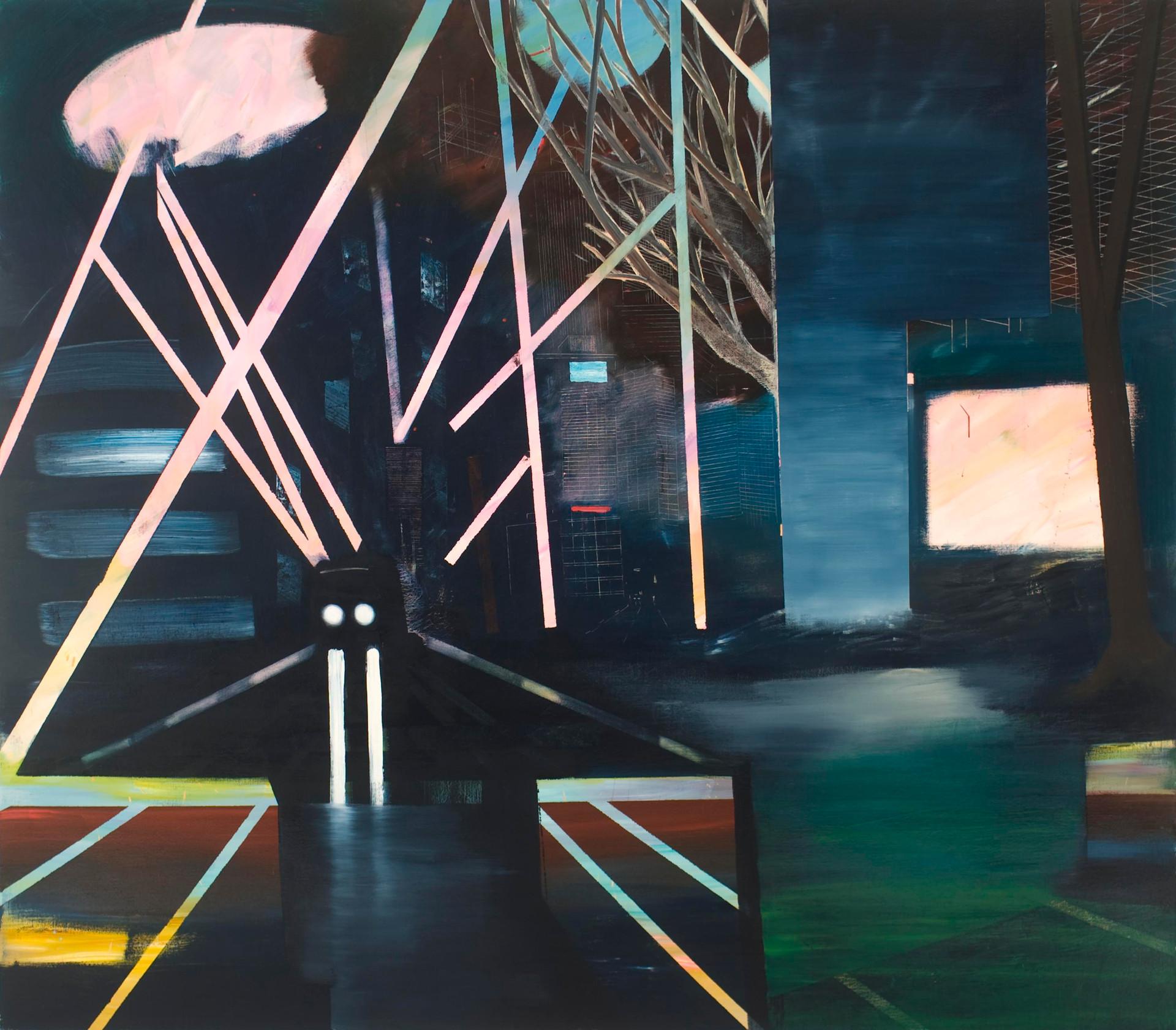 """JOSEPH SIDDIQI """"Future City 2"""" oil on linen 84 x 96 in. / 213 x 244 cm"""