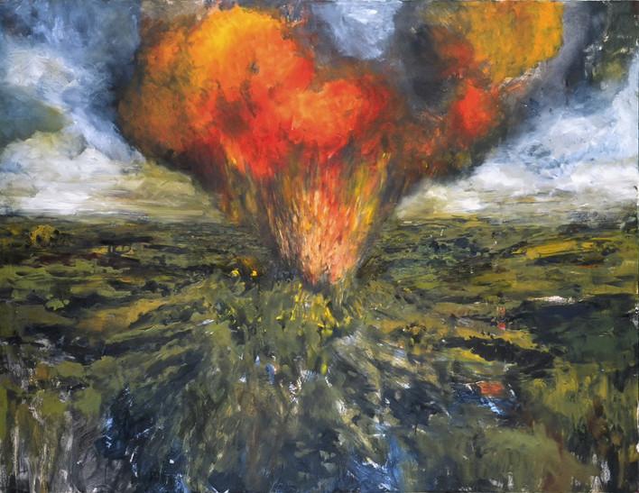 """JOSEPH SIDDIQI """"Volcano"""" oil on canvas 70 x 90 in. / 178 x 229 cm"""